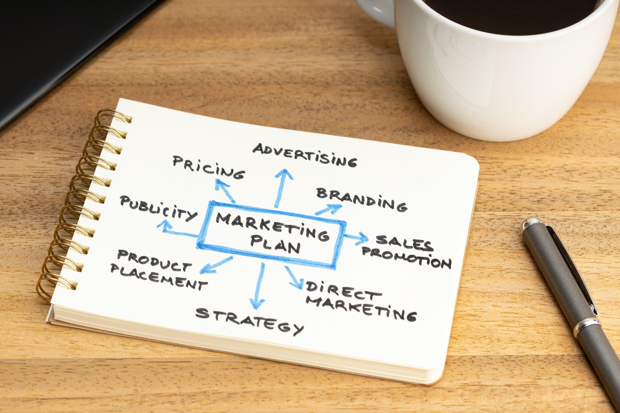 Marketing plan graph on notepad on wooden desk