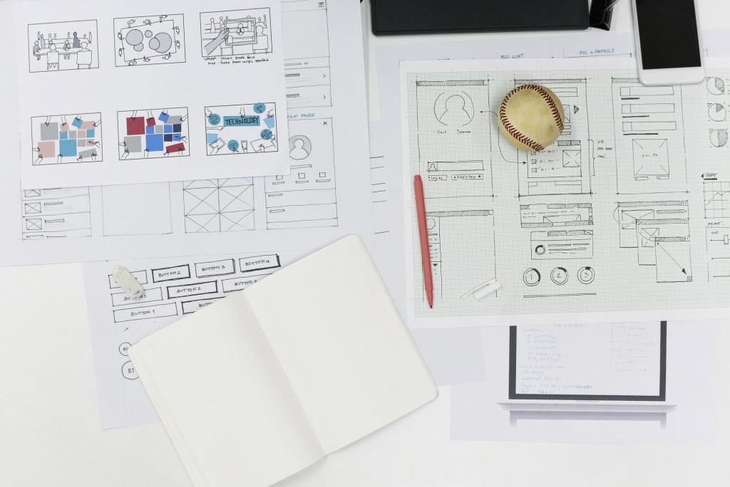 Startup Business Website Content Design Layout on Paper